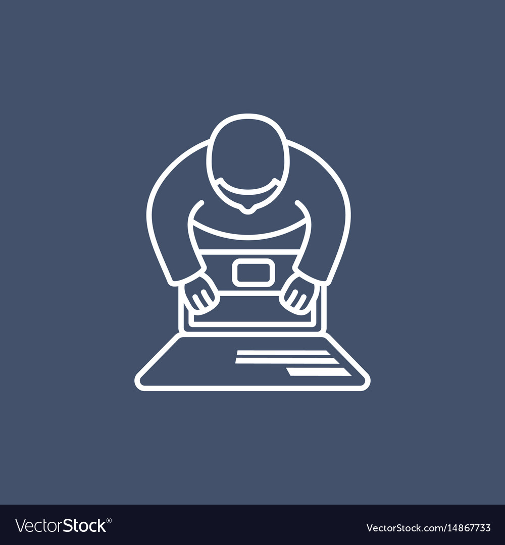 Person working on computer vector image