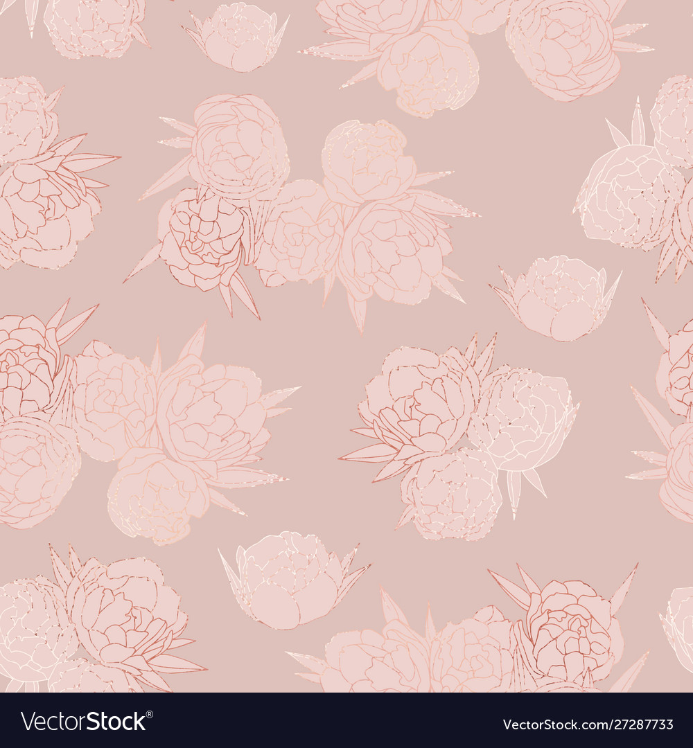 Rose gold floral seamless pattern