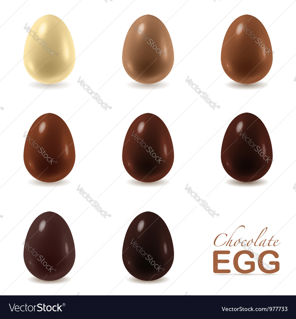 Set of chocolate eggs on white