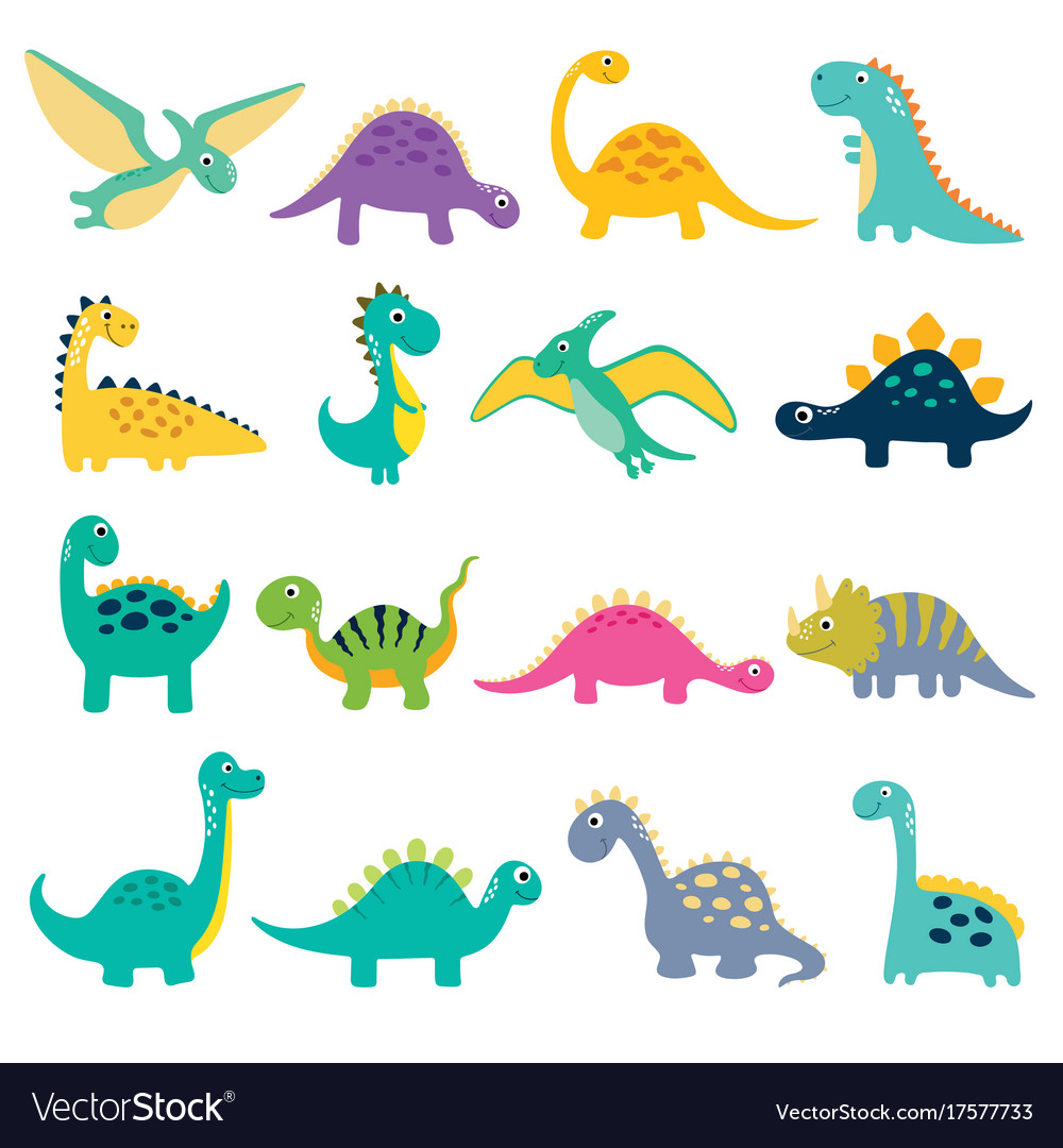 Set of cute dino vector image