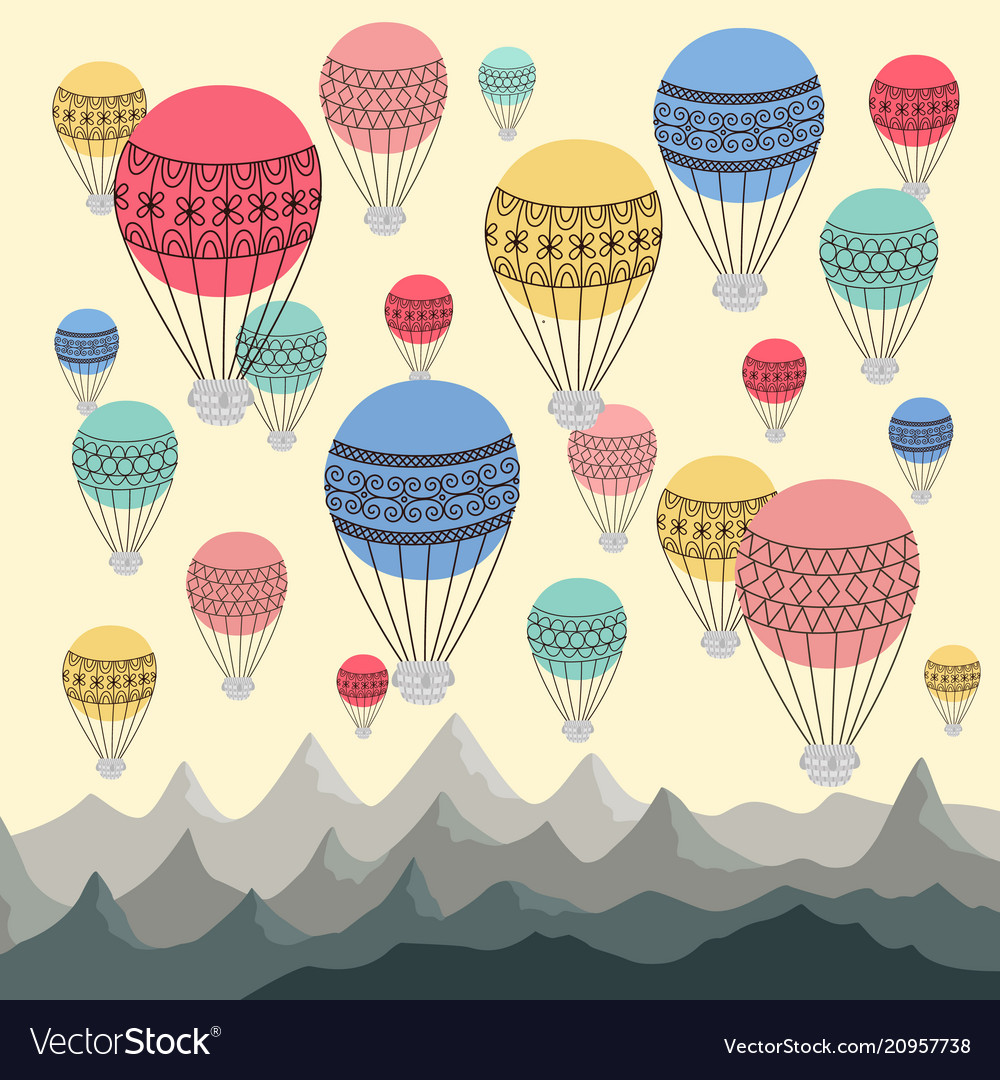 Background colourful hot air balloons and