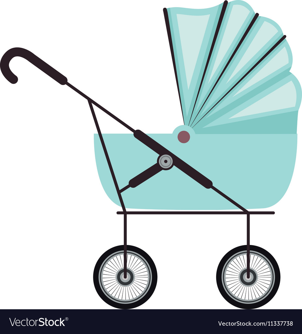 Cute baby carriage with blue soft top