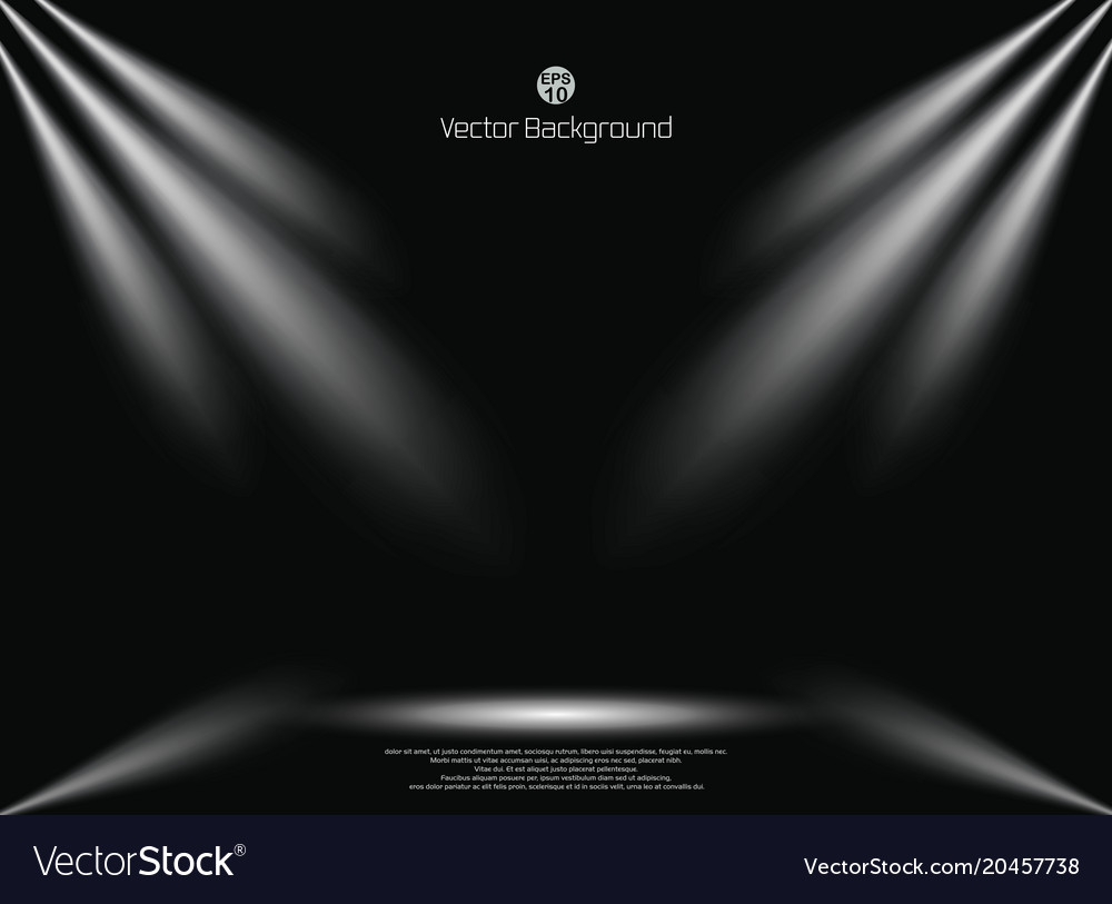 Dark black background with lighting spotlight vector image