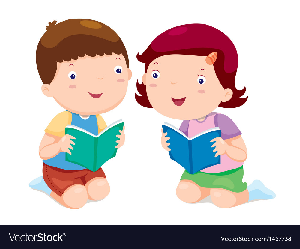 Kids reading books vector image