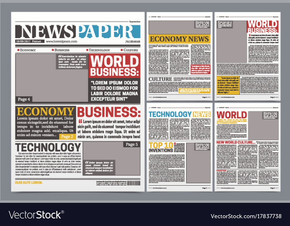 Newspaper online template realistic poster