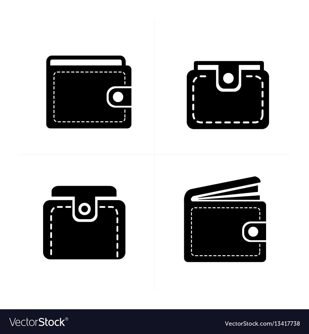 Wallet set icon 4 design vector image