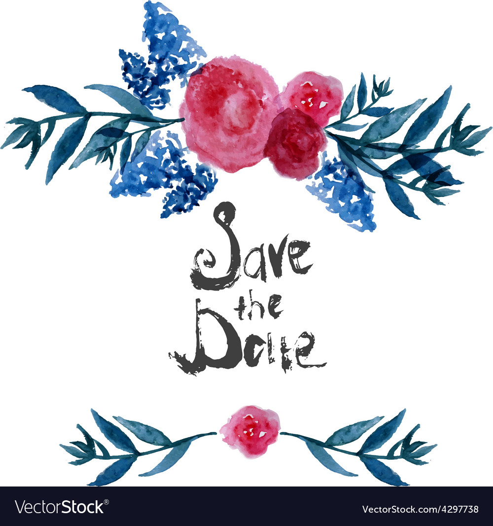 Watercolor Floral frame design save the date with
