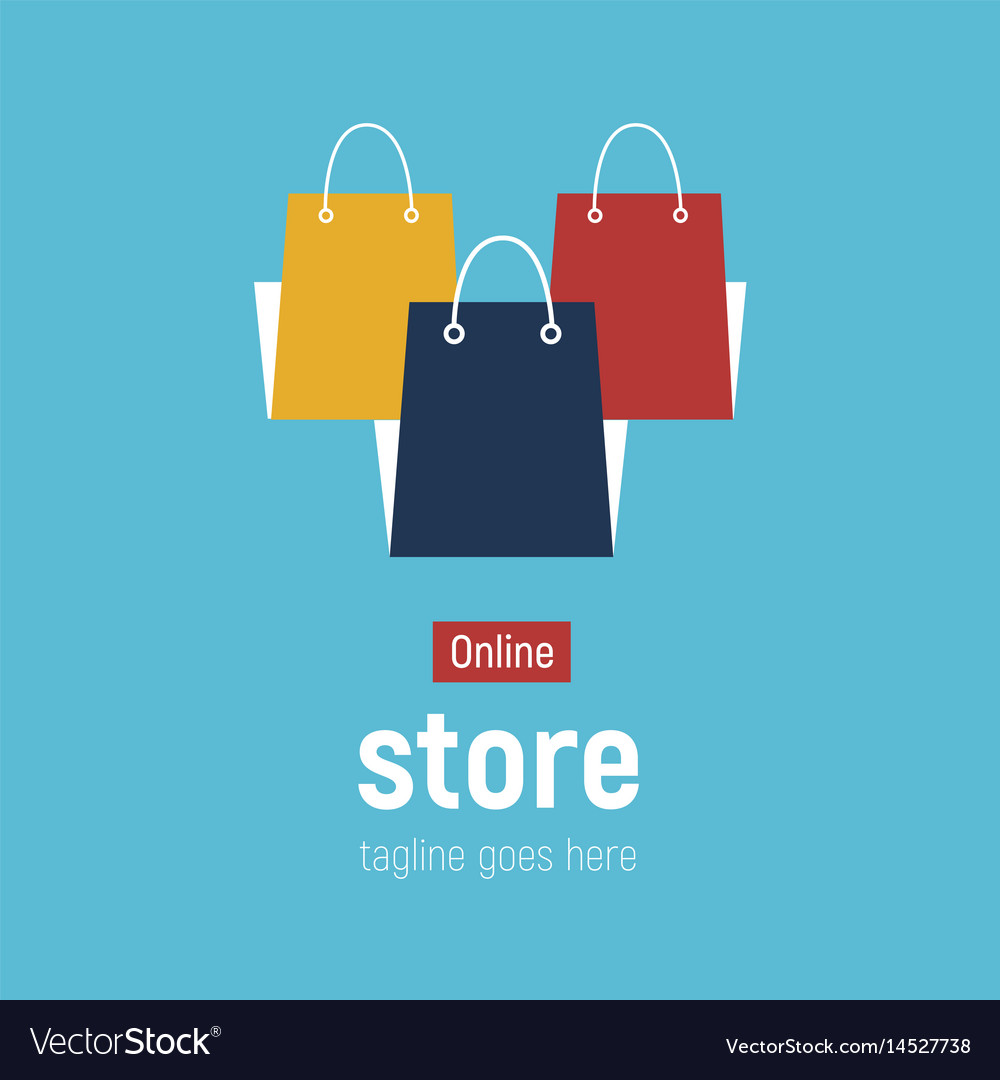 Web Banner Online Store With Shopping Bags Vector Image