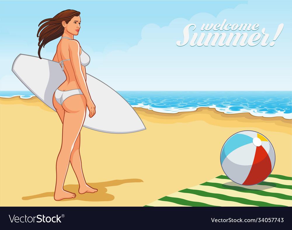 Beach girl on beach
