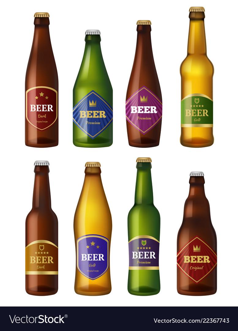 Beer bottles labels alcohol cold drinks