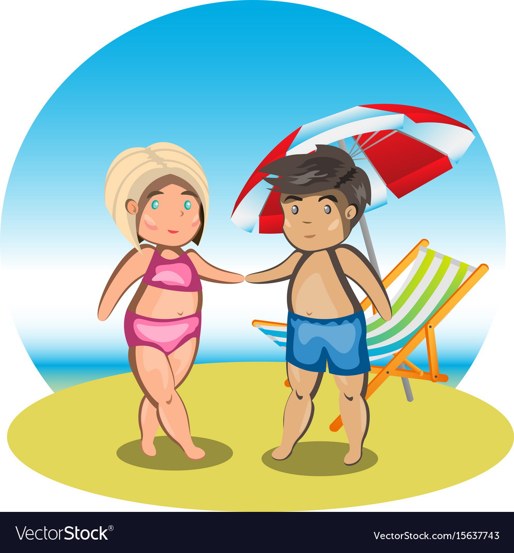 Cartoon couple on beach