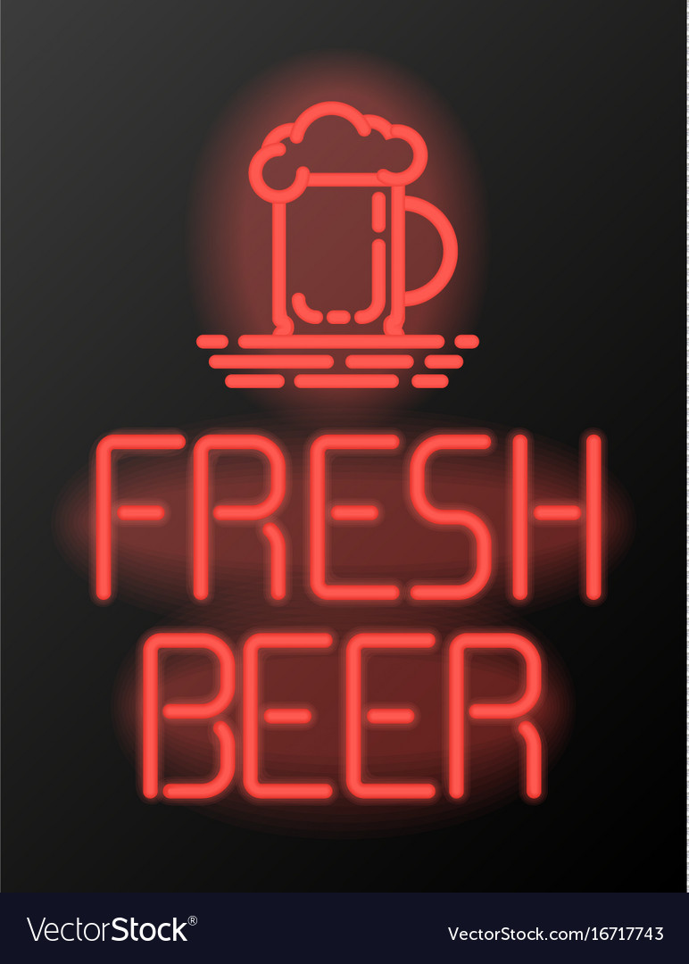 Fresh beer neon sign or emblem