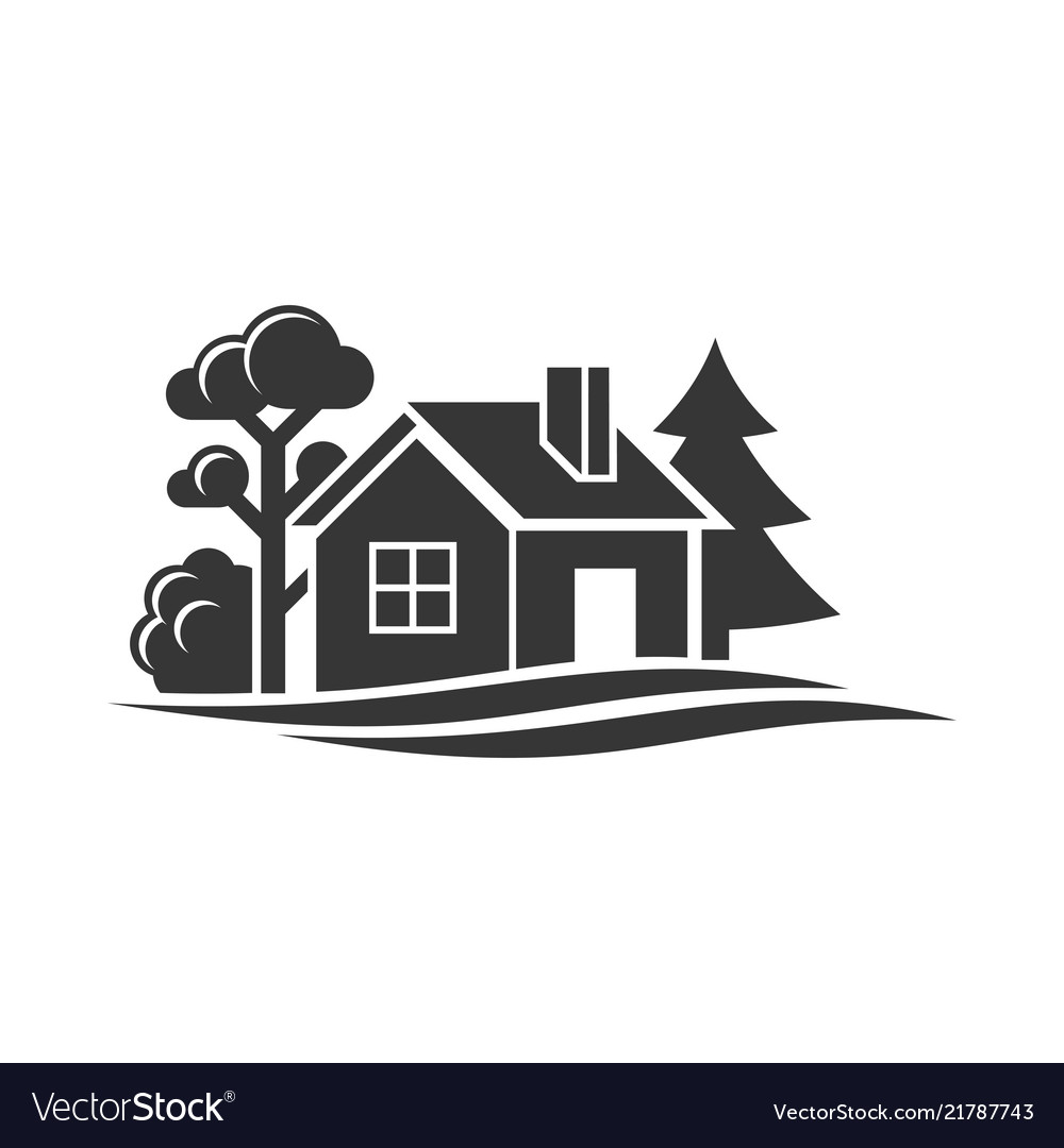 Home and trees icon for logo on white background