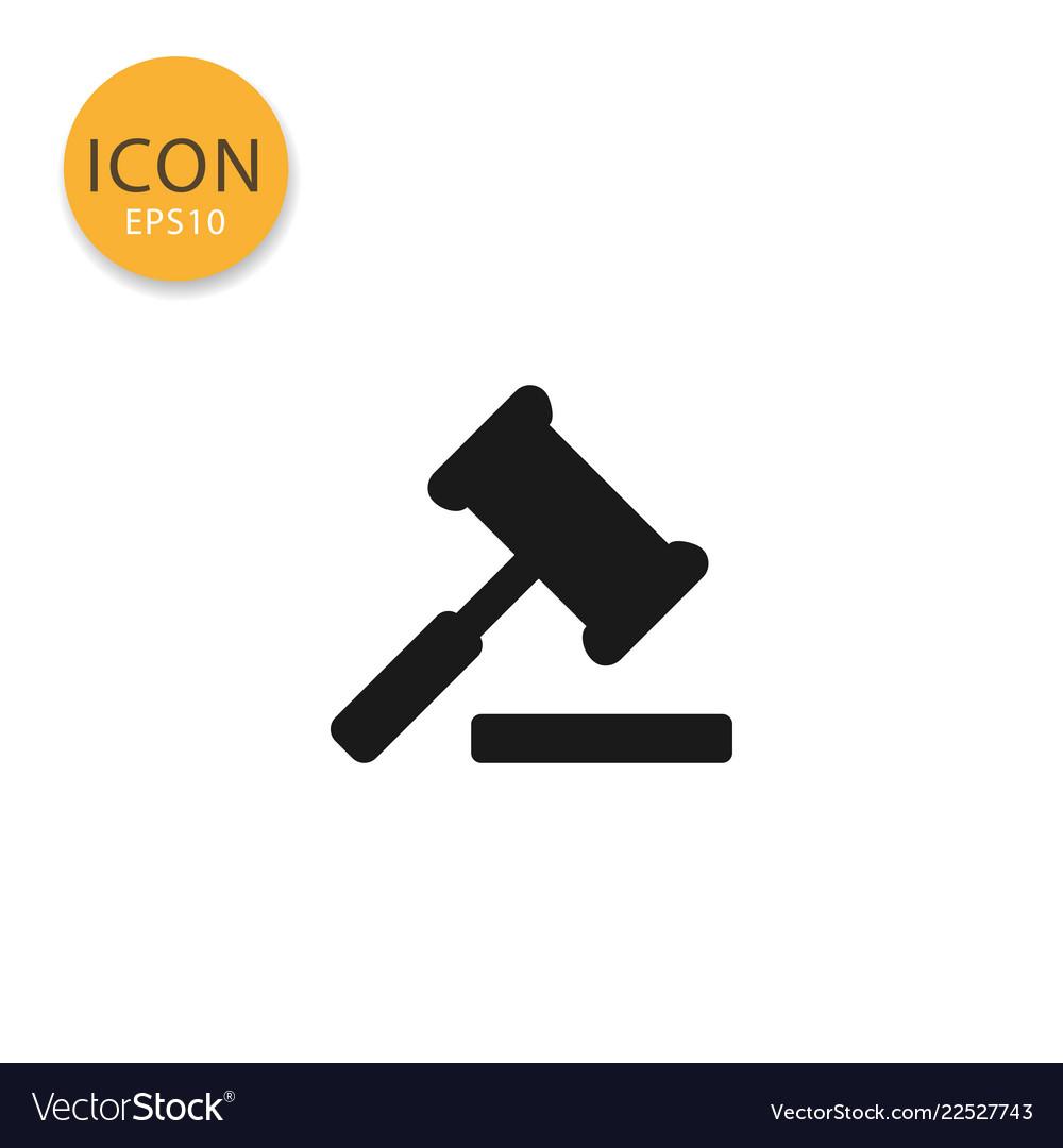 Judge gavel icon isolated flat style