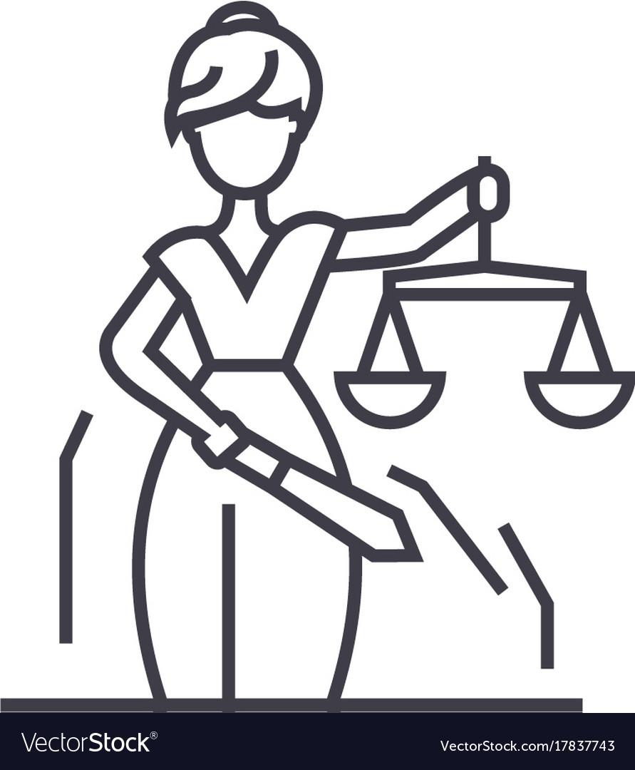 Justice statue line icon sign