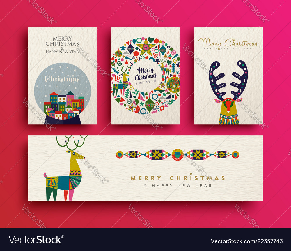 Merry christmas folk art holiday card collection