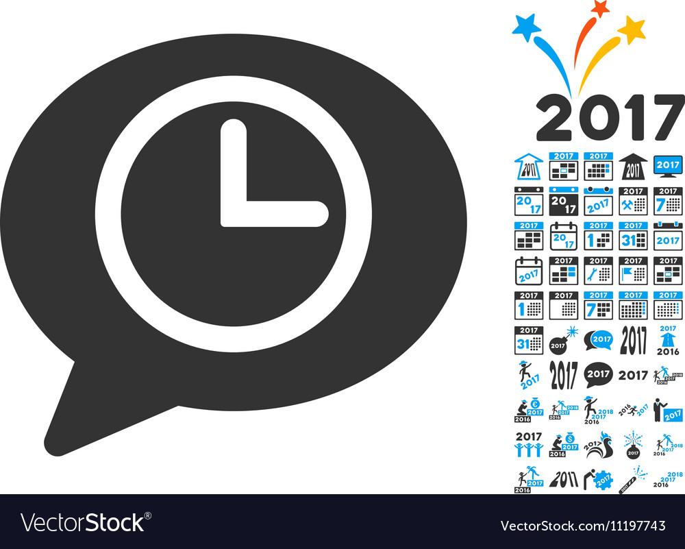Message Time Icon With 2017 Year Bonus Symbols Vector Image