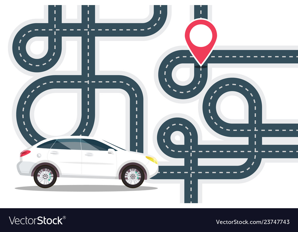 Road map with white car on start and red pin the