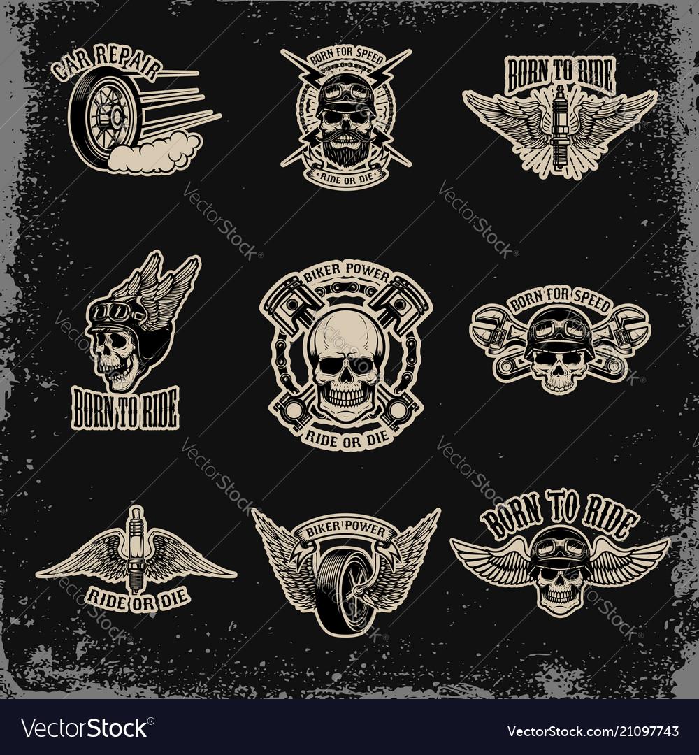 Set emblems for biker club car repair
