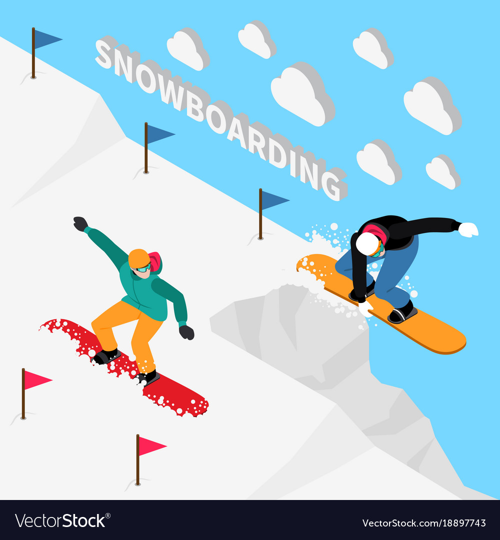 Snowboarding track isometric composition vector image
