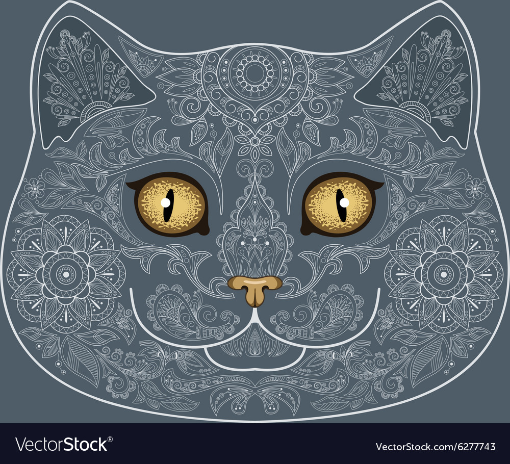 Tattoo head of gray cat with floral ornaments vector image