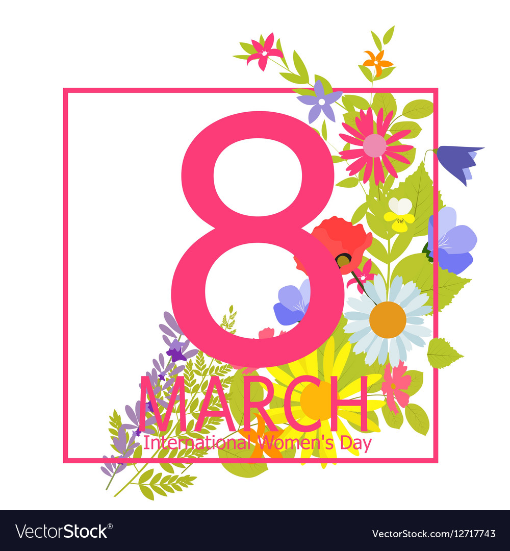 Womens Day Greeting Card 8 March Royalty Free Vector Image