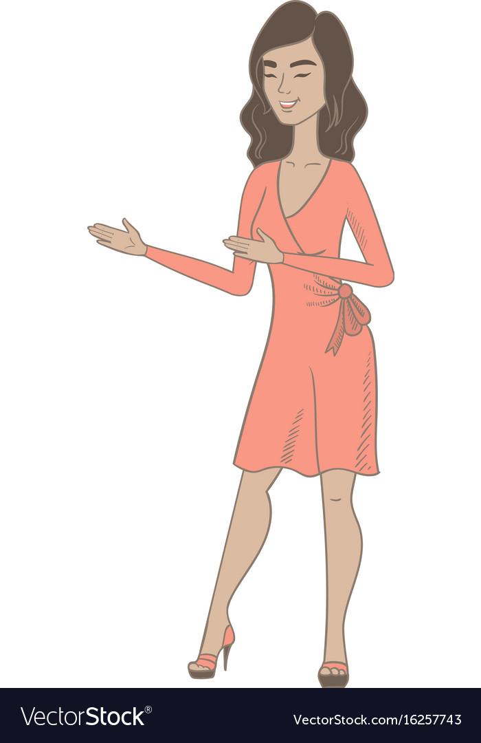 Young hispanic happy woman gesturing