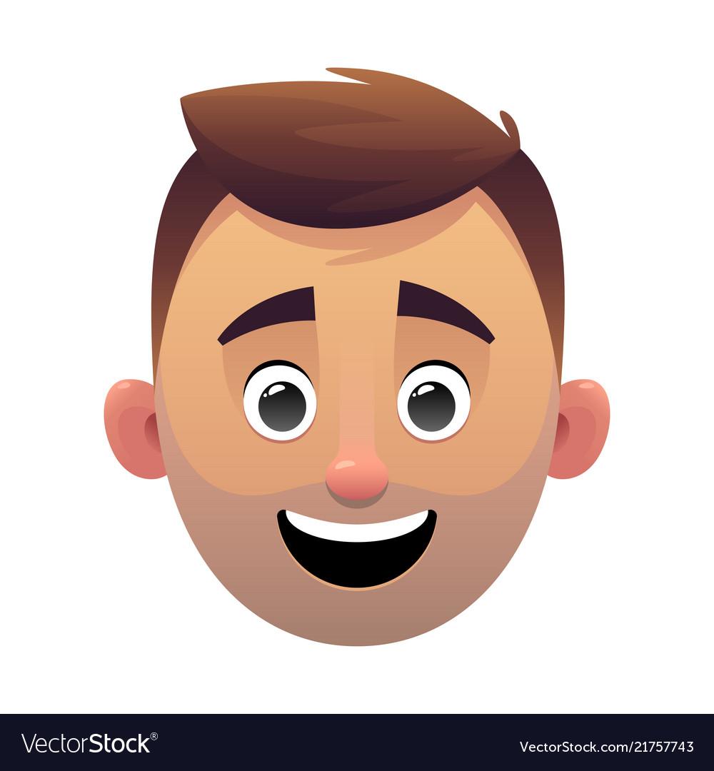Young man head avatar cartoon face character