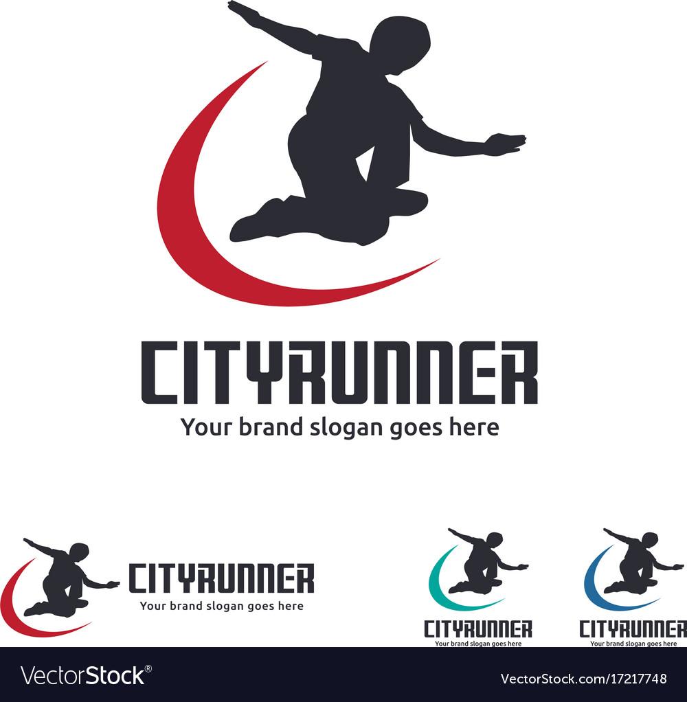 City runner logo vector image