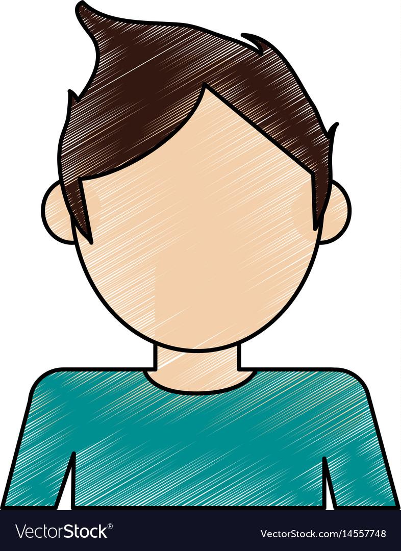 Color pencil cartoon faceless half body man with t vector image
