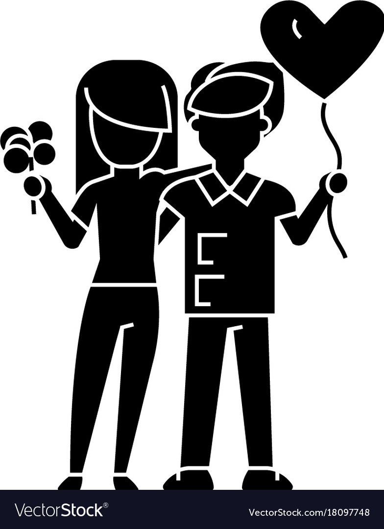 Couple loving - with flowers and balloon icon