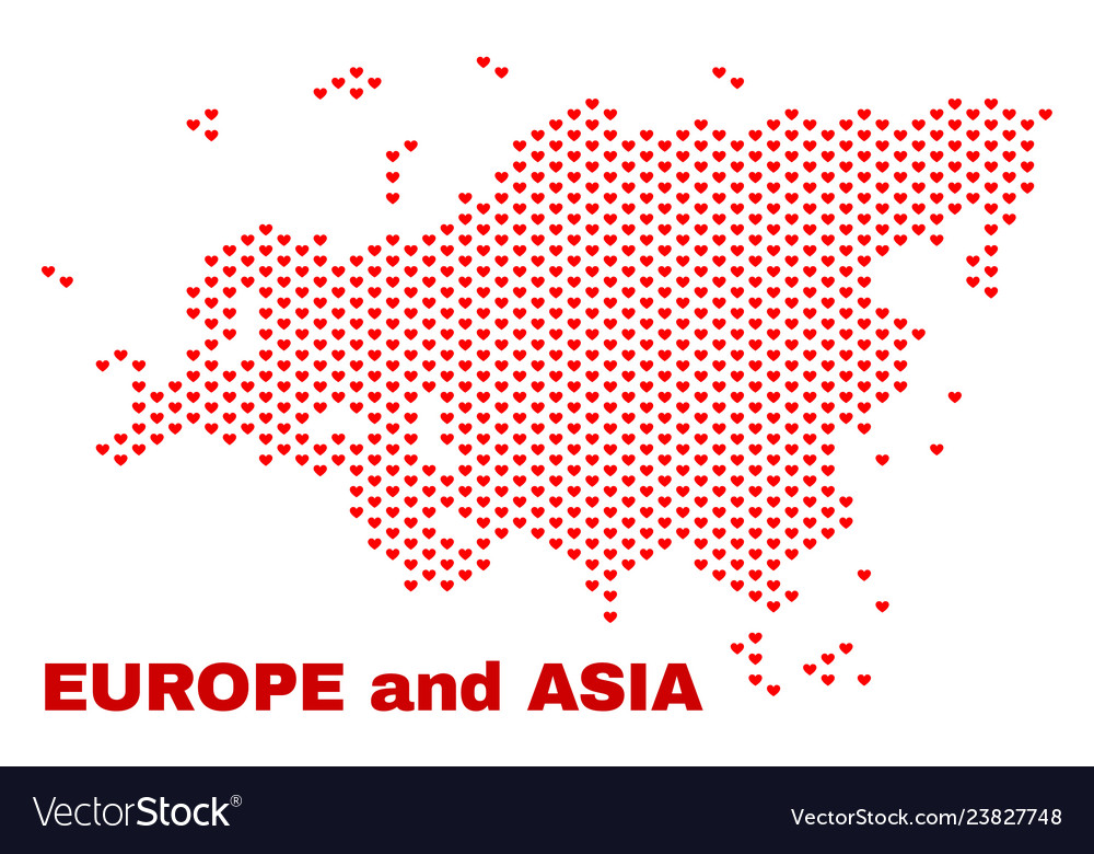 Europe and asia map - mosaic of lovely hearts
