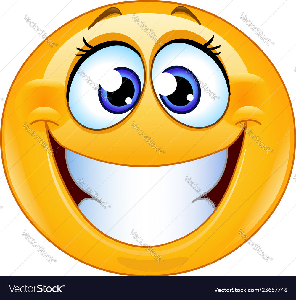 grinning female emoticon vector 23657748