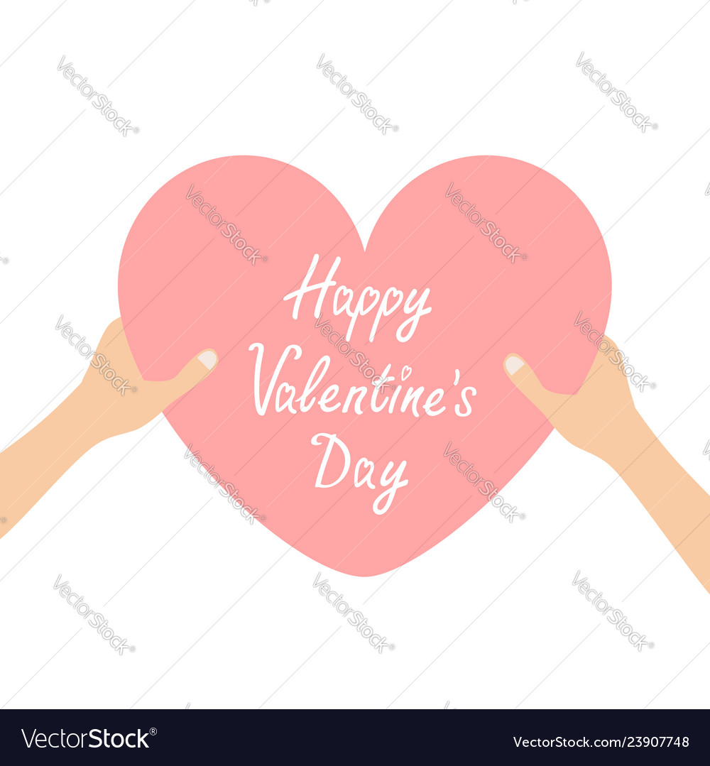 Happy valentines day hands arms holding pink