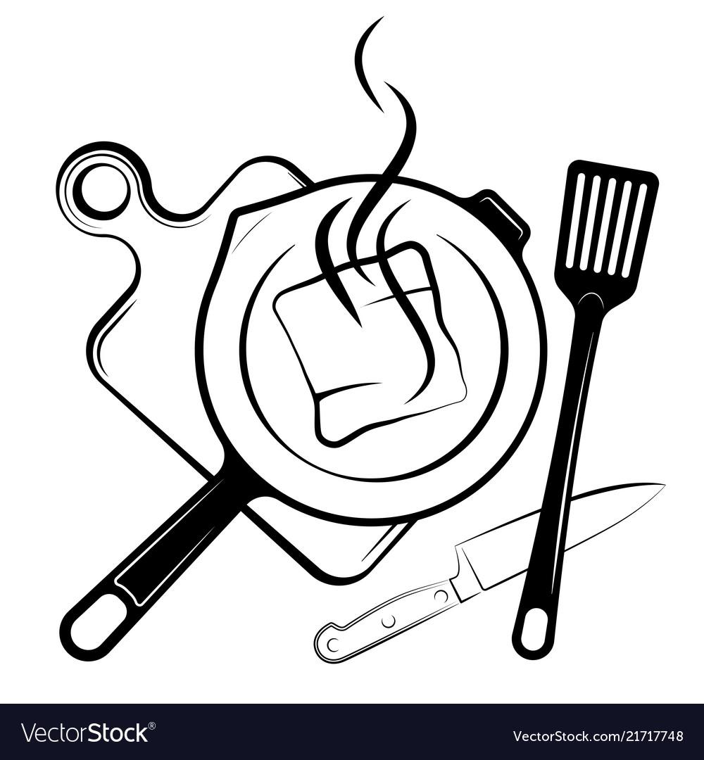Logo for menu or restaurant frying pan and