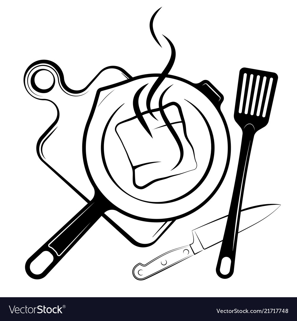 Logo for the menu or restaurant frying pan and