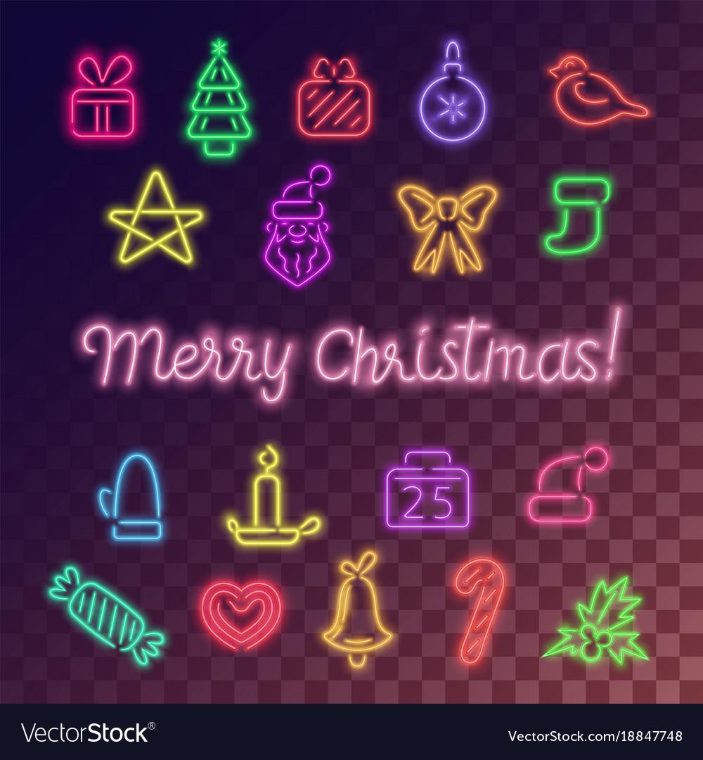 Neon christmas icons set
