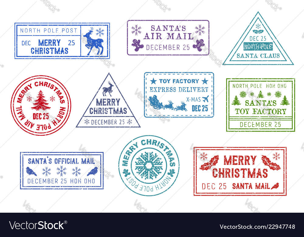 Santa claus mail christmas post stamps