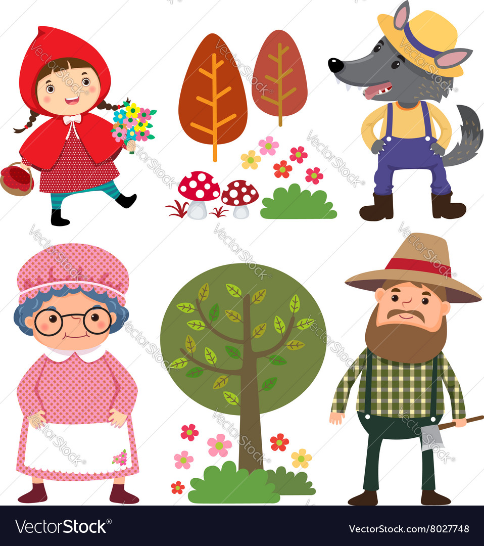set of characters from little red riding hood vector image little red riding hood wolf clipart little red riding hood clipart free