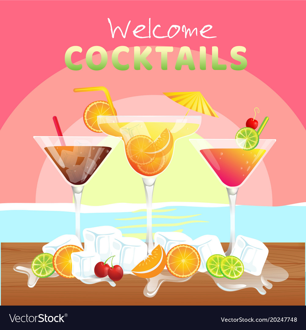 Welcome cocktail set of cocktail background vector image