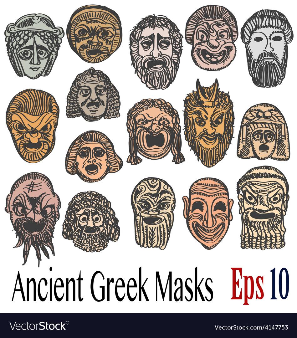 Ancient Greek Masks Royalty Free Vector Image - VectorStock