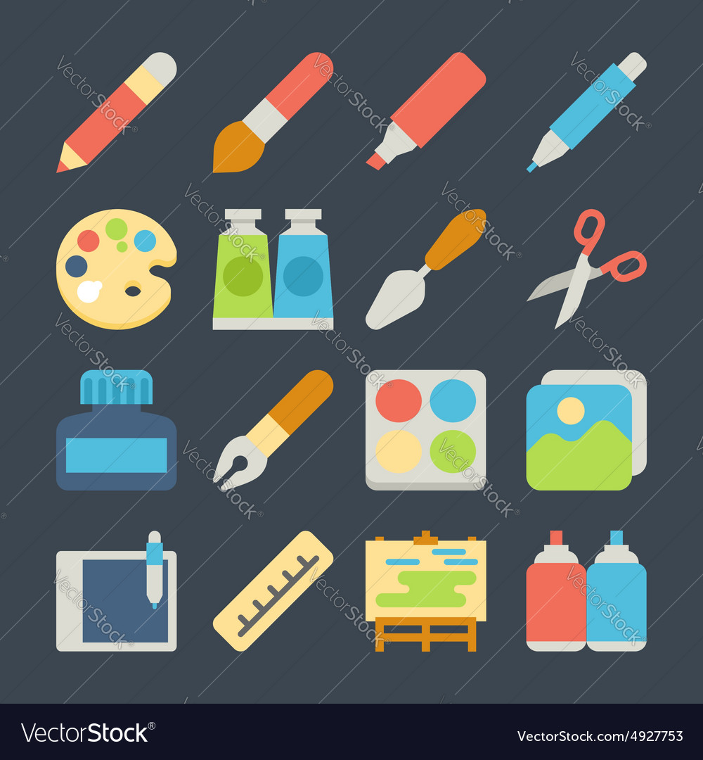 Art flat icons set vector image