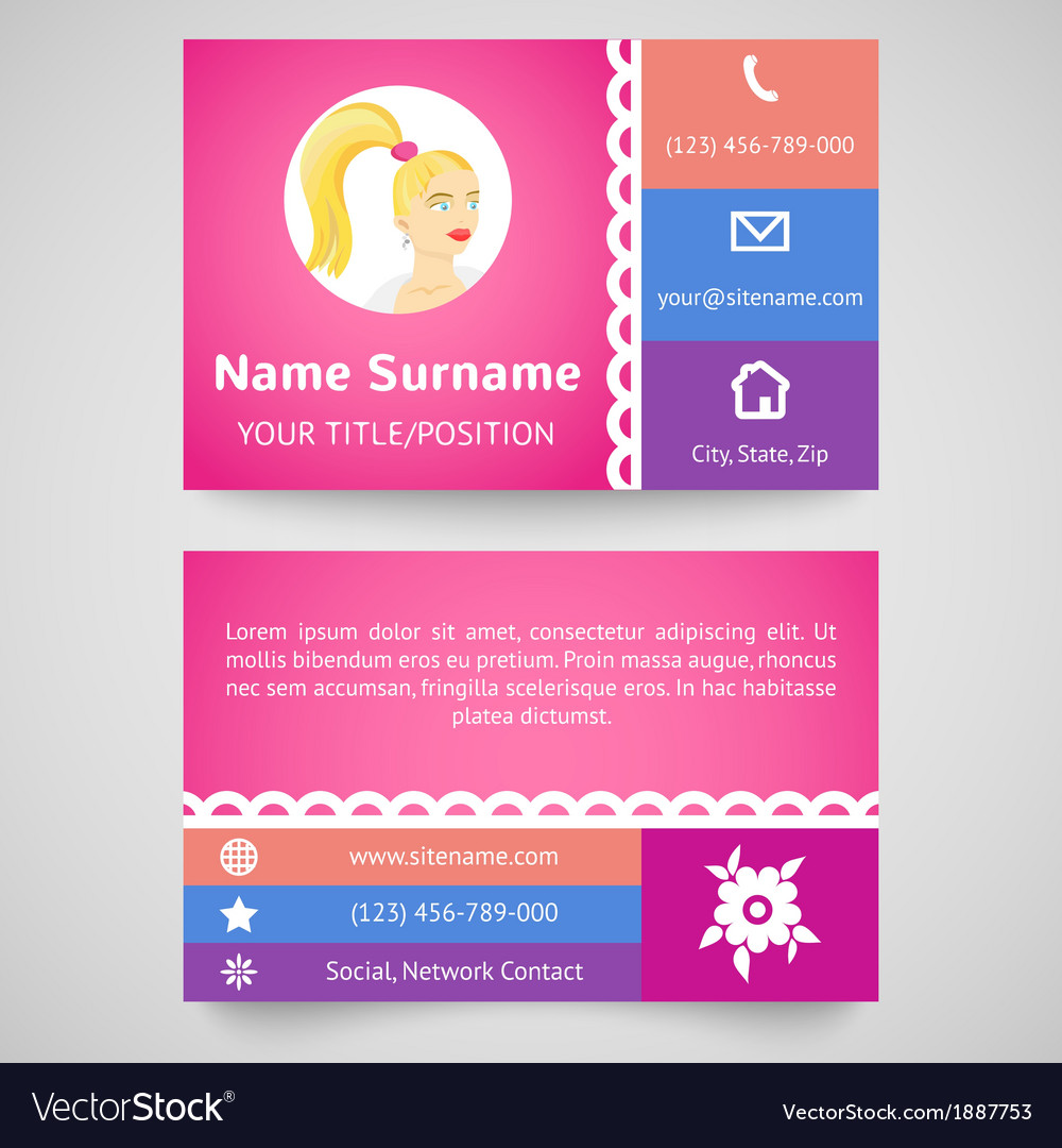 Bright pretty business card set template vector image reheart Gallery