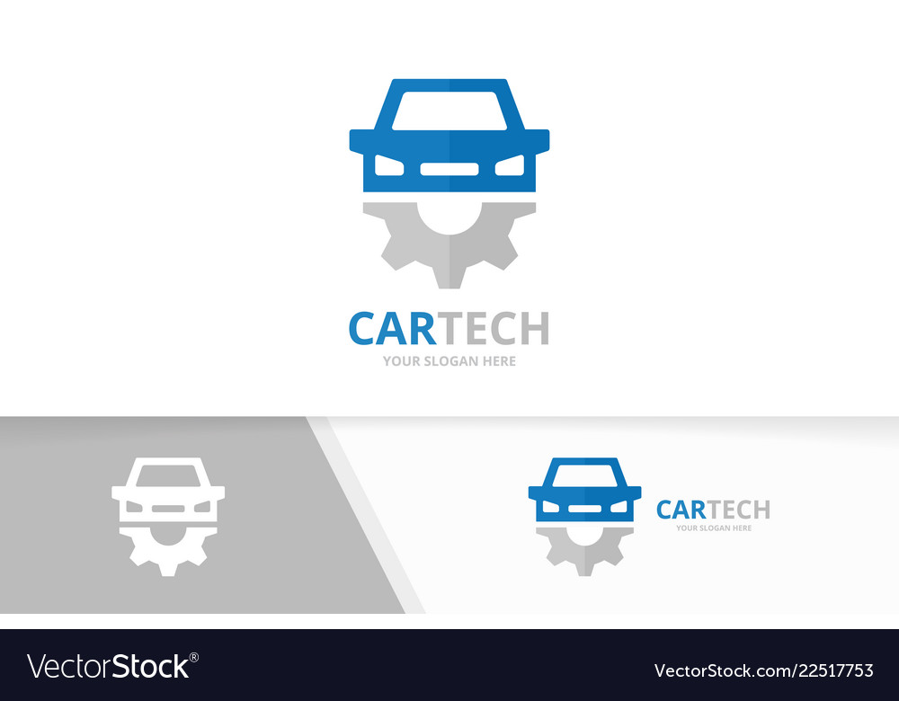 Car and gear logo combination vehicle and