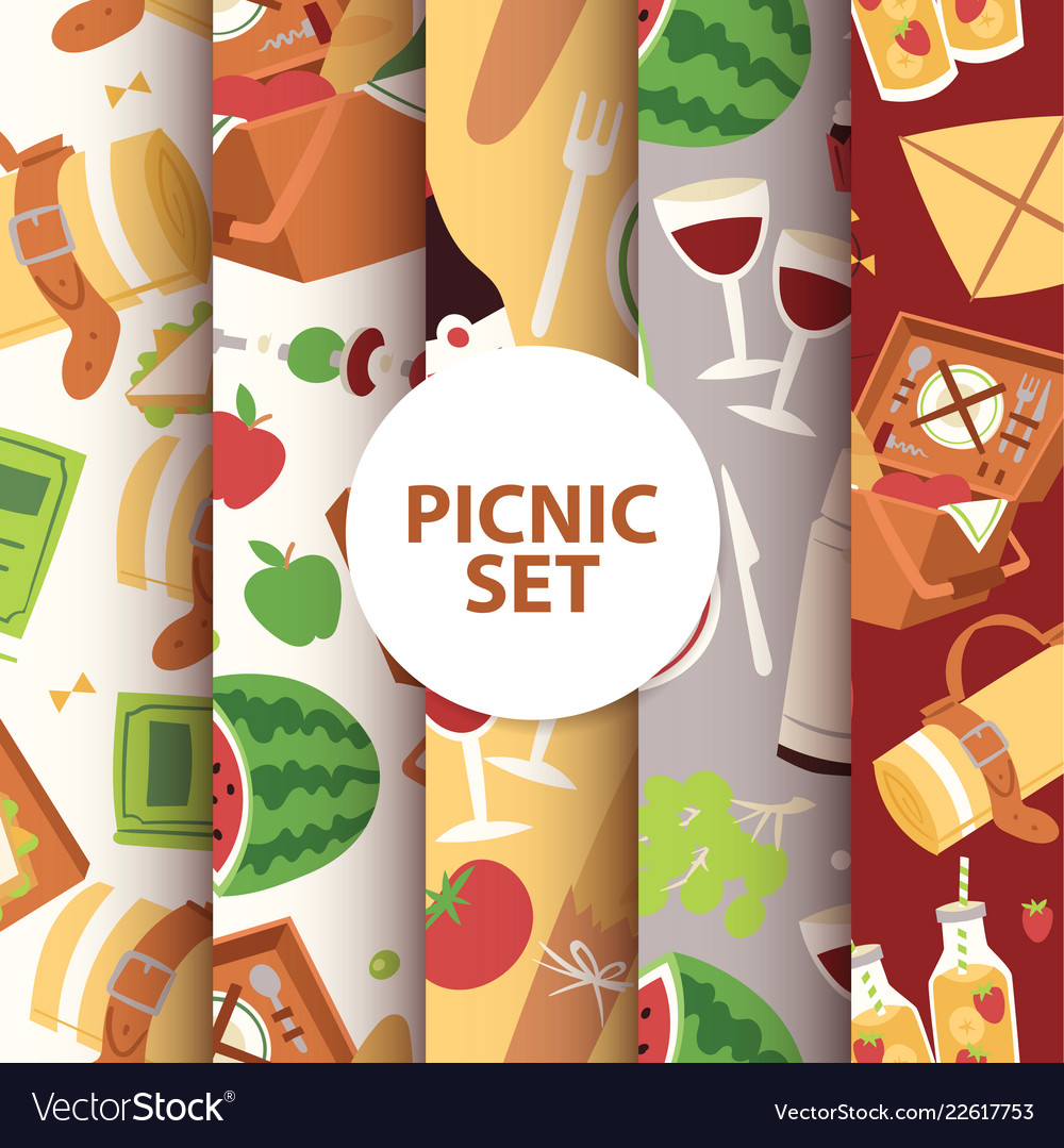 Cartoon basket picnic with food drinks and