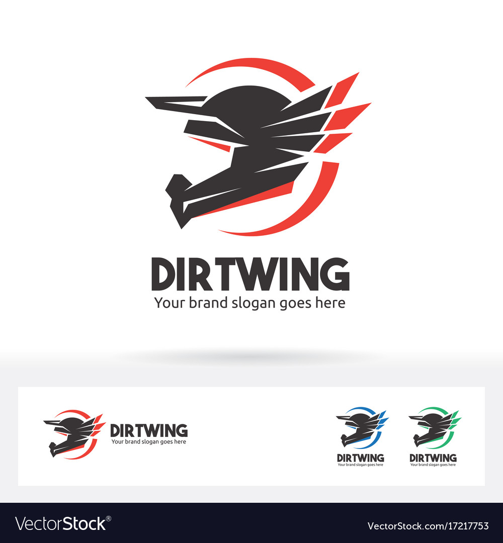 Dirt wing helmet motorcycle logo