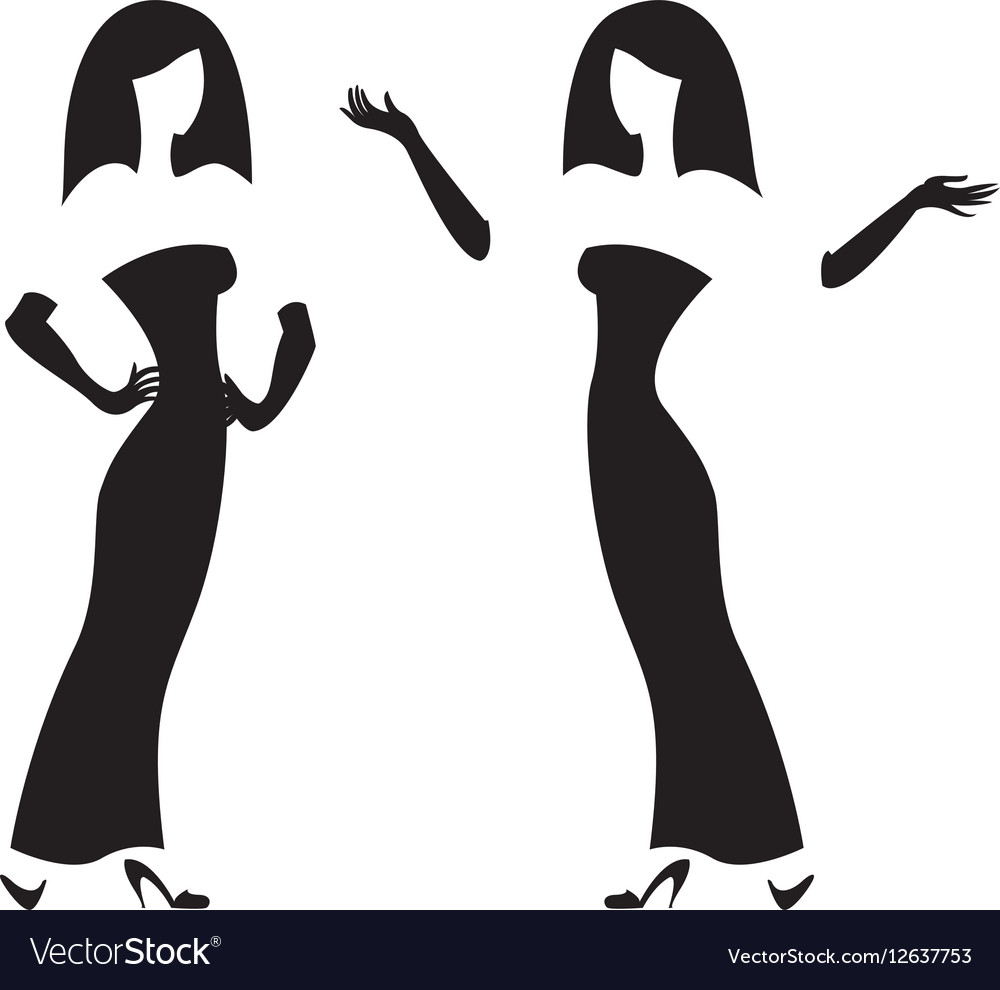 Female silhouette black and white graphics vector image