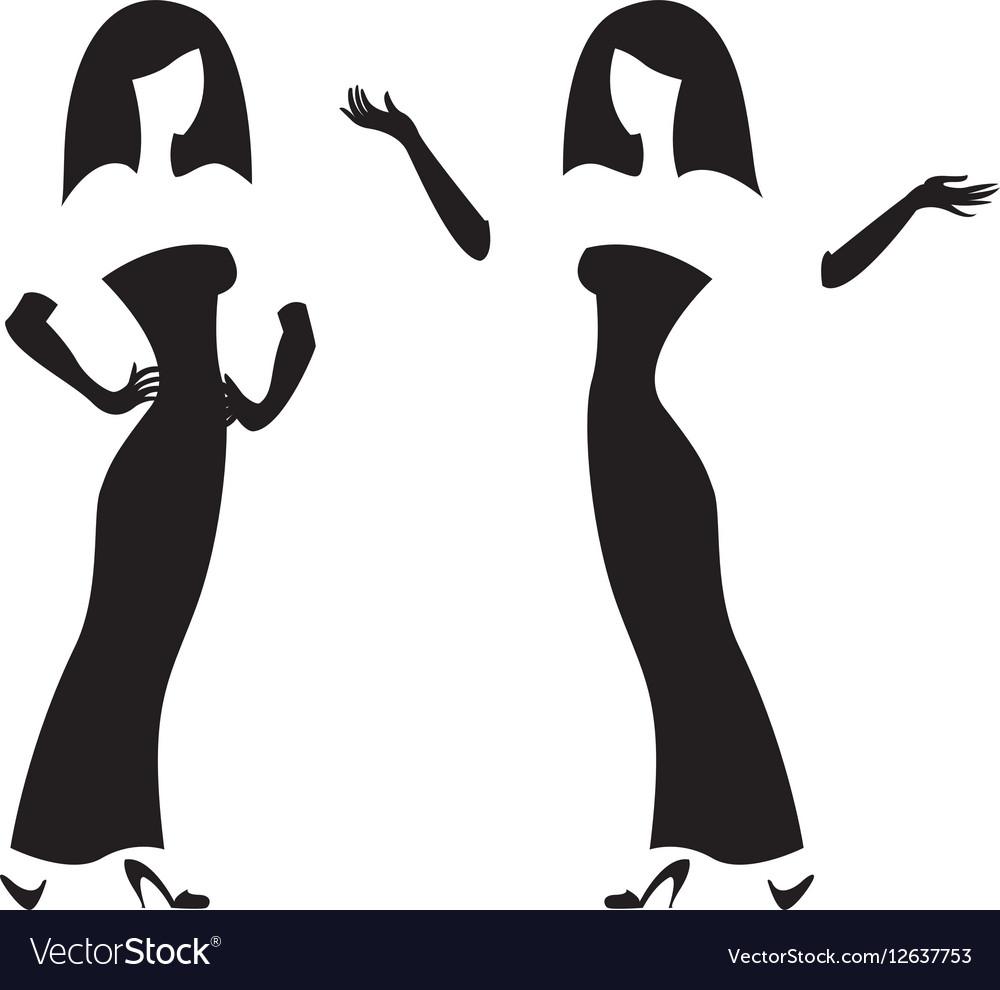 Female silhouette black and white graphics