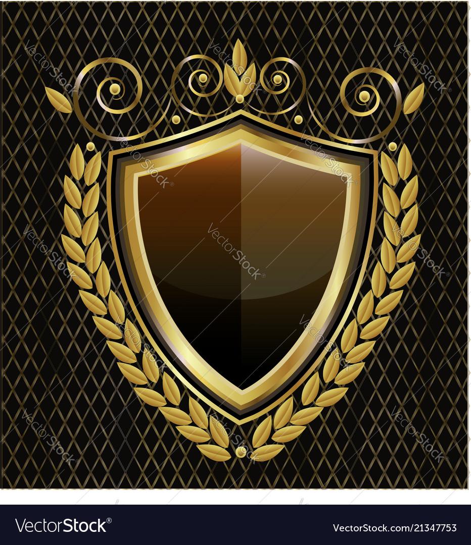 Gold shield emblem vintage icon