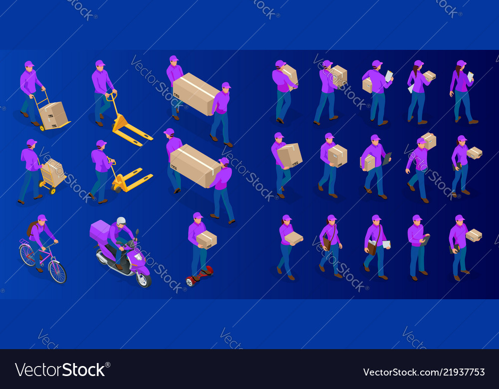 Isometric big set of delivery man and woman in